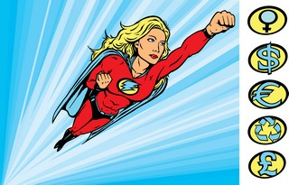 Super Heroine with lightning bolt